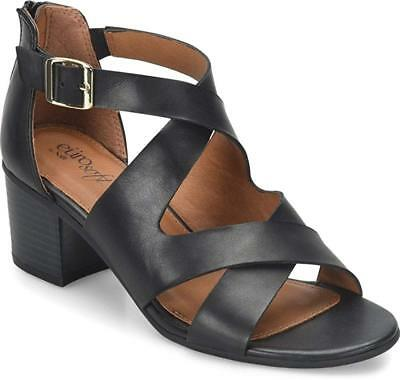 3cccbc50cac52c NEW Eurosoft By Sofft Women s Aleah Black Sandals Strappy Heels Open Toe Sz  8 M