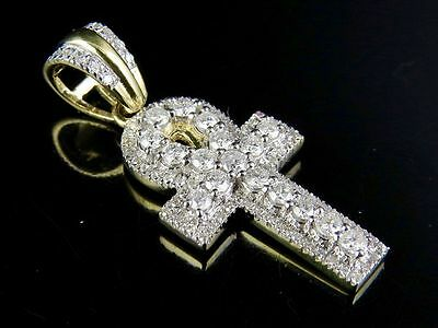 10K Yellow Gold 3D Egyptian Ankh Cross Real Diamond Pendant Charm 3/4 Ct 1.25""