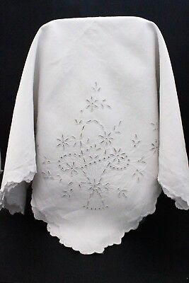 Vintage white Irish linen tablecloth with embroidered wheat and flowers.