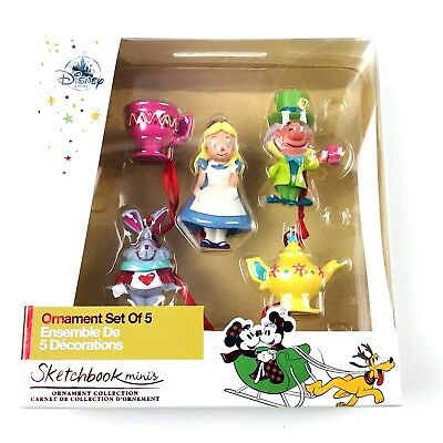 Disney Store Sketchbook Alice In Wonderland Sketchbook Holiday Ornaments 5 Pack