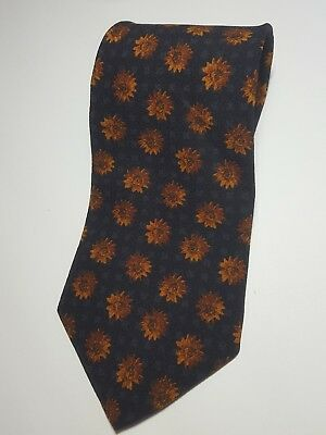 "Hugo Boss 100% Silk Men's black Necktie Made in Italy 57"" Floral Geometric Tie"