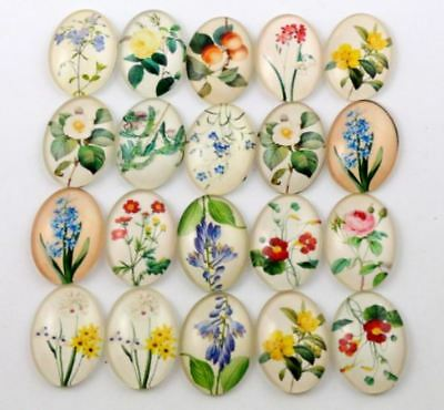 20pcs 18x25mm Oval Resin Cameo Cabochons Mixed Flower Flat Back Cabochon