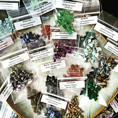 Crystal Sample Kit Chakra Stones Reiki Healing Wicca Orgonite Small Gemstones