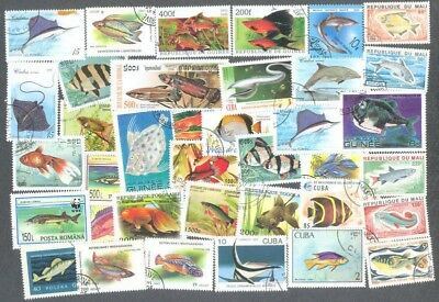 Fish 200 all different stamp collection