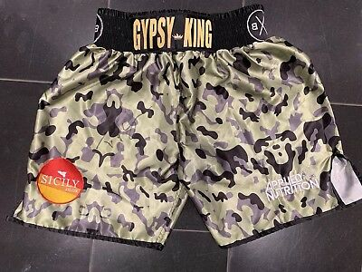 Tyson Fury Hand Signed Fight Replica Camouflage Shorts RARE COA
