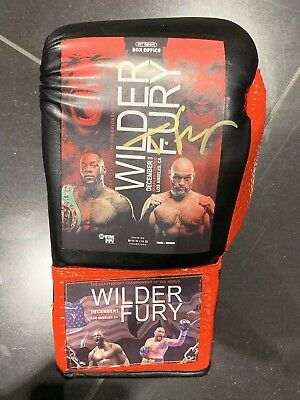 Exclusive Tyson Fury V Deontay Wilder Fight Promo Signed Boxing Glove
