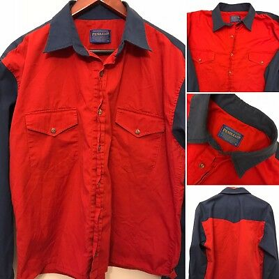 Vintage Pendleton Men's Small Red Blue Western Button Up Long Sleeve Shirt