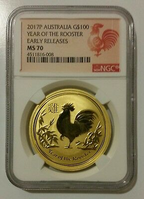 2017 Australia 1 oz Gold Lunar Rooster NGC MS70 Early Release