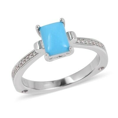 Silver Platinum Plated Sleeping Beauty Turquoise, Tanzanite Ring Cttw 1.4