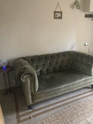 Antique Victorian Chesterfield Sofa in Green Velvet