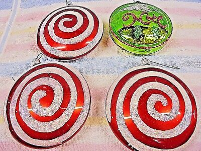 Vintage Christmas Ornament  Lot of Four Large Peppermint Swirl  and Green Noel