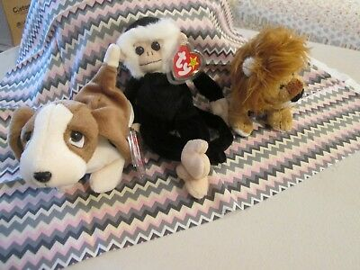 Ty Beanie Baby Lot Of 3: Midas The Lion, Tracer Weiner Dog Nwt, & Mooch Monkey