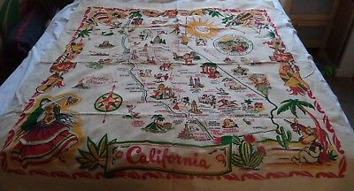 Vintage California State Map Cactus Cloth Tablecloth
