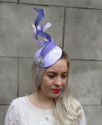 Lilac Lavender Light Purple Statement Silver Fascinator Hat Races Hair 6577