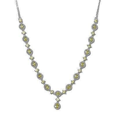 ad8f7d933e96 Women s 925 Sterling Silver Platinum Plated Oval Sphene Necklace 18