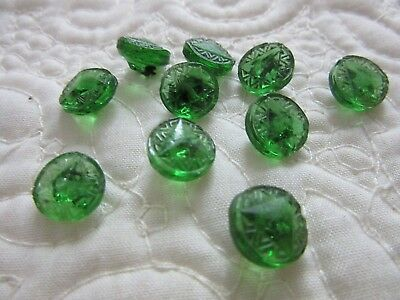 Lot of 10 Vintage/Antique Small Matching Green Glass Buttons