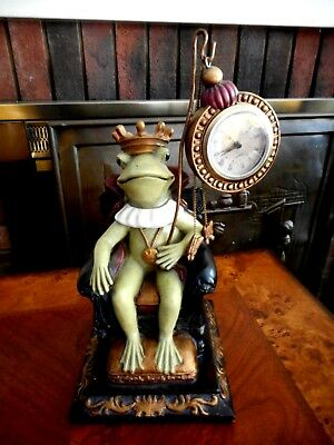 Frog Prince on Throne Pocket Watch Holder Table Clock Heavy OOAK Figural