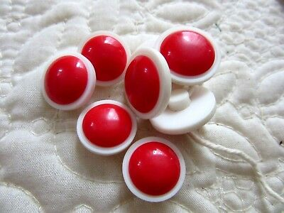 Lot of 8 Vintage/Antique Matching Red & White  Buttons