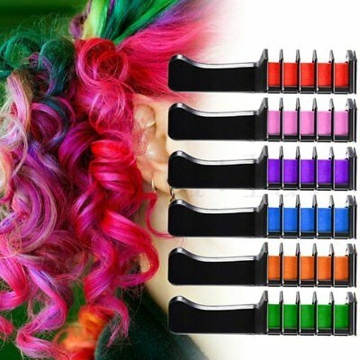 6PCS Mini Disposable Salon Use Hair Dye Comb Crayons For Hair Color Chalk NEW EI