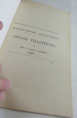 1885 American Indian Book, OSAGE Traditions by J. Owen Dorsey, Smithsonian Inst.