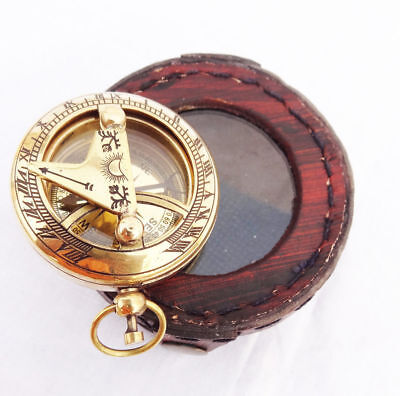 Brass Solid Push Button Sundial Compass with lether box