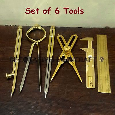 Set of 6 Pcs, Brass Scientific Instruments, Dividers, Drafting & Measuring Tools