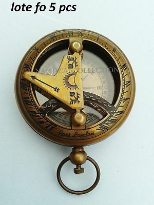 5 pcs Nautical Hand-Made Solid Brass Mini Sundial Working Compass Pocket Compass