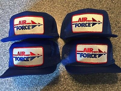 Hipster AIR FORCE Military Vintage Patch Trucker Snapback Adult Hat Cap Lot of 4