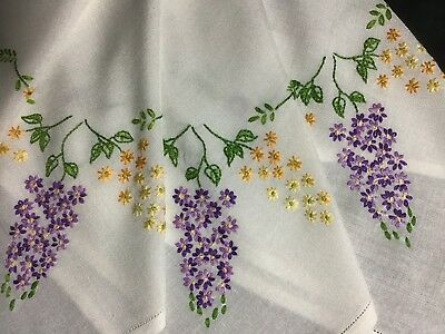 Pretty Vintage Hand Embroidered Tablecloth ~ Lilac Blossoms