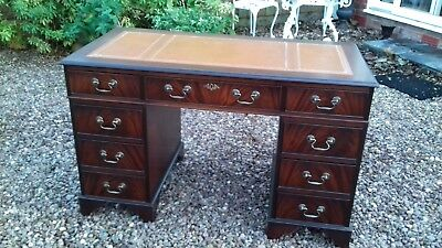 Antique Regency Style Flame Mahogany Leather Top Inlay Pedestal Desk