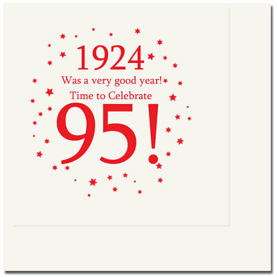 Happy 95th Birthday Age 95 1924 Party Supplies LUNCH DINNER NAPKINS