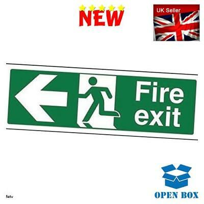 "VSafety 14003AX-R""Fire Exit Arrow Left"" Sign, 1 mm Rigid Plastic, Landscape, 300"
