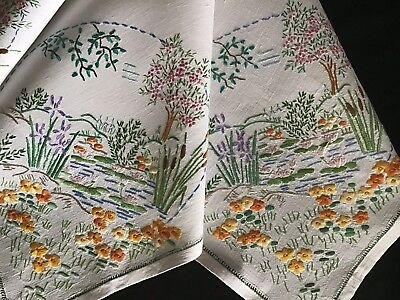 Gorgeous Vintage Linen Hand Embroidered Tablecloth ~ Pond/river Scene