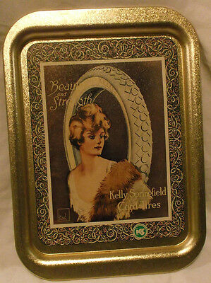 Kelly-Springfield Cord Tires Beauty Strength Lady Tin Advertising Serving Tray