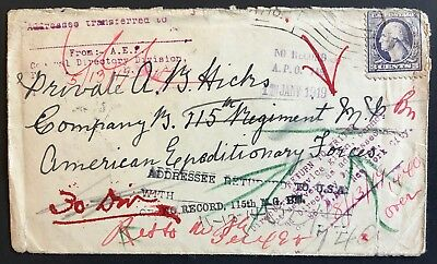 Cover 1918 American Expeditionary Forces APO 749 France returned to sender 1919