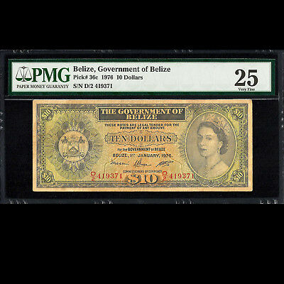 Government of Belize 10 Dollars 1976 D2 Series PMG 25 Very Fine P-36c