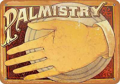 """7"""" x 10"""" Metal Sign - Palm Reading - Vintage Look Repro"""