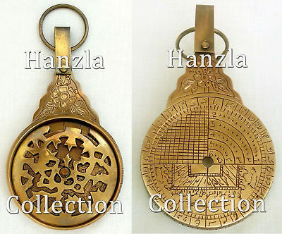 Antique Brass Arabic Astrolabe Vintage islamic Navigation Astrological Calendar