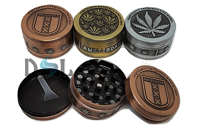 50mm AMSTERDAM WEEDS HERB LEAF MAGNETIC METAL 3 PART TOBACCO GRINDER CRUSHER