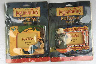 Pair of Vintage Walt Disney Decorel Pocahontas Easel Back Photo Frames Meeko