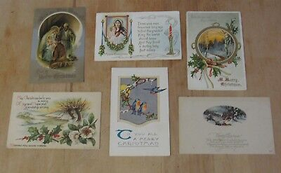 Nice Vintage Lot Of Six Christmas Xmas Themed Postcards #4