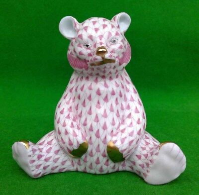 Herend Pink Fishnet Bear