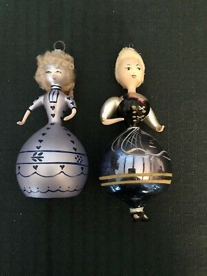 Set of Two Lady Glass Ball Christmas Ornaments One Antique One Contemporary