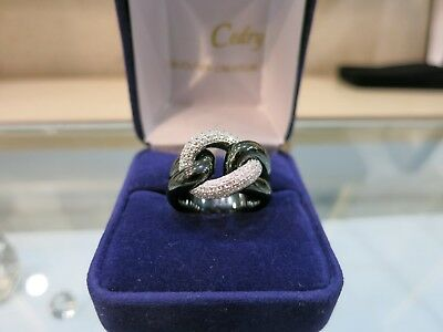 Bague CERAMIQUE NOIRE  Jeell diamants./   Ring Ceramic and 18k white gold.