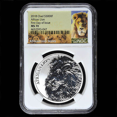 Chad 5000 Francs CFA African Lion First Day of Issue NGC MS 70 Silver .999 Coin