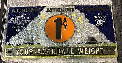 RARE Vintage ASTROLOGY Glass SCALE Penny DISPLAY SIGN Fortune Teller Horoscope