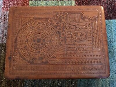 VINTAGE HAND TOOLED LEATHER BRIEFCASE ATACHE, AZTEC CALENDAR MAYAN By FLORE'S