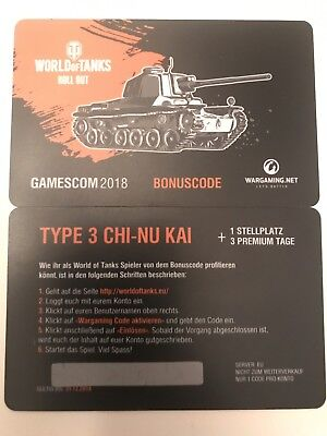 World of Tanks | Bonus Code | Type 3 Chi-Nu Kai | Tier 5 | Gamescom 2018 | 3T. P