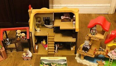 Sylvanian families Bundle -house, Tree House, Barn & (used) Figures  & Accessory