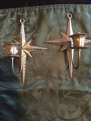 Vintage Pair of  Brass Z.Y. India World Gifts Candle  Holder Wall Sconce's